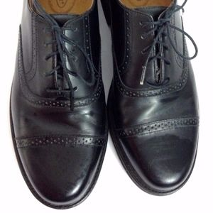 Rockport Black Leather Semi-Brogue Cap Toe Shoe